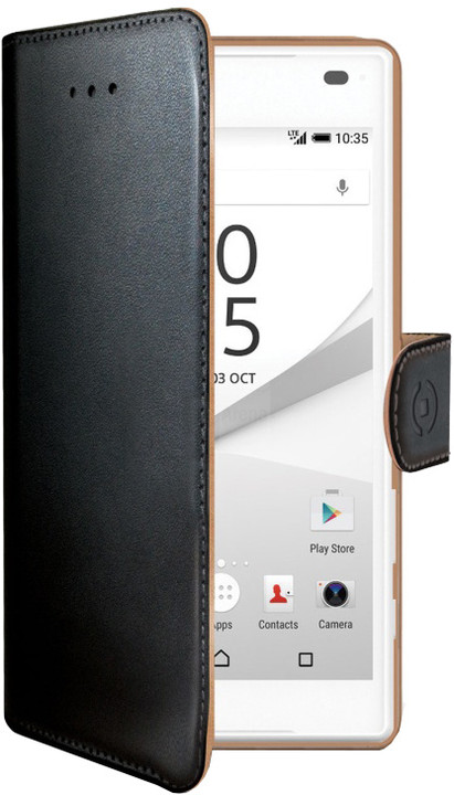 CELLY Wally pouzdro pro Sony Xperia Z5, PU kůže, černá