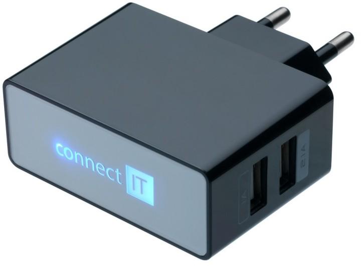 CONNECT IT CI-153 síťová nabíječka - USB, černá