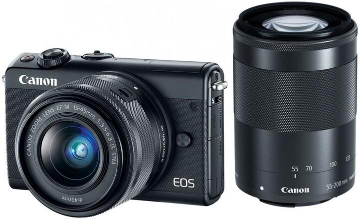 Canon EOS M100 + EF-M 15-45mm IS STM + EF-M 55-200mm IS STM, černá