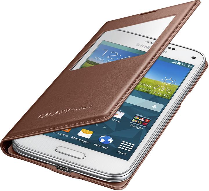 Samsung flipové pouzdro s oknem EF-CG800B pro Galaxy S5 mini, zlatá