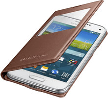 Samsung flipové pouzdro s oknem EF-CG800B pro Galaxy S5 mini, zlatá - EF-CG800BFEGWW