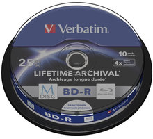 Verbatim BD-R, M-Disc, 4x, 25GB, printable, 10 ks, spindle - 43825