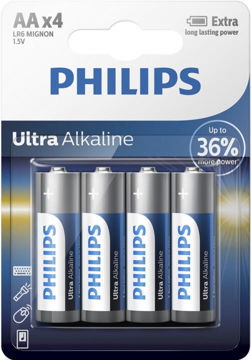 Philips AA ExtremeLife+, alkalická - 4ks
