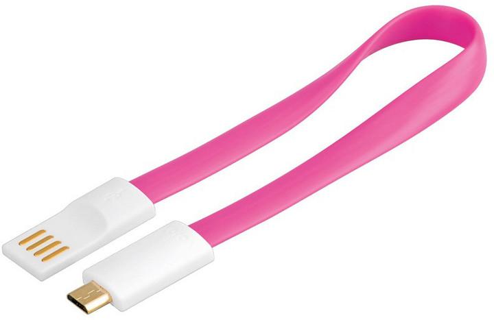 PremiumCord USB, A-B micro, magnetický, růžová - 0,2 m