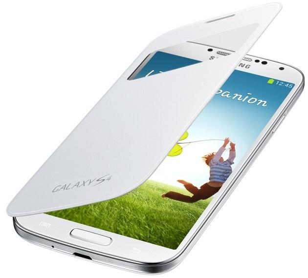 Samsung flipové pouzdro EF-TI950BW S-view pro bezdrátové nabíjení pro Galaxy S4 (i9505), bílá