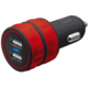 Trust USB nabíječka do auta 10W, 2xUSB 1A, červená