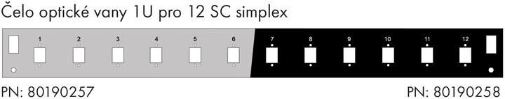 Solarix čelo optické vany 1U, pro 12 SC simplex, RAL 7035, s montážními otvory