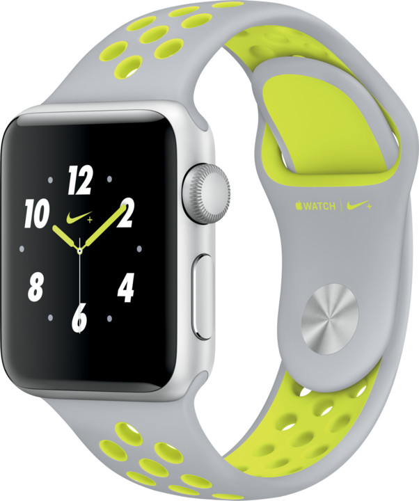 Apple Watch Nike + 38mm Silver Aluminium Case with Flat Silver/Volt Nike Sport Band