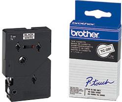 Brother TX-221, bílá / černá (9mm)