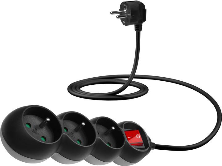 CONNECT IT prodlužovací kabel 230 V, 3 zásuvky, 1,5 m, s vypínačem (černý)