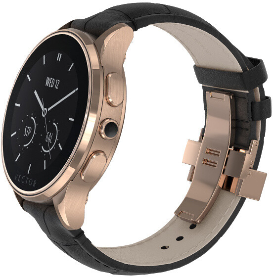 Vector SmartWatch Luna-Polished Rose Gold/Black Padded Croco