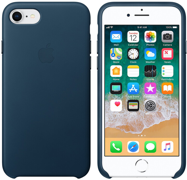 Apple kožený kryt na iPhone 8/7, vesmírně modrá