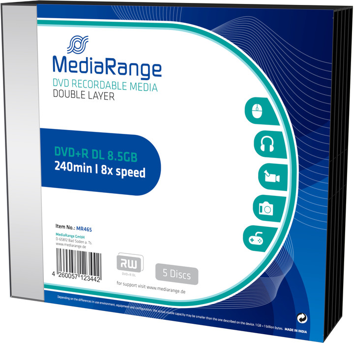 MediaRange DVD+R 8,5GB DL 8x, 5ks Slimcase