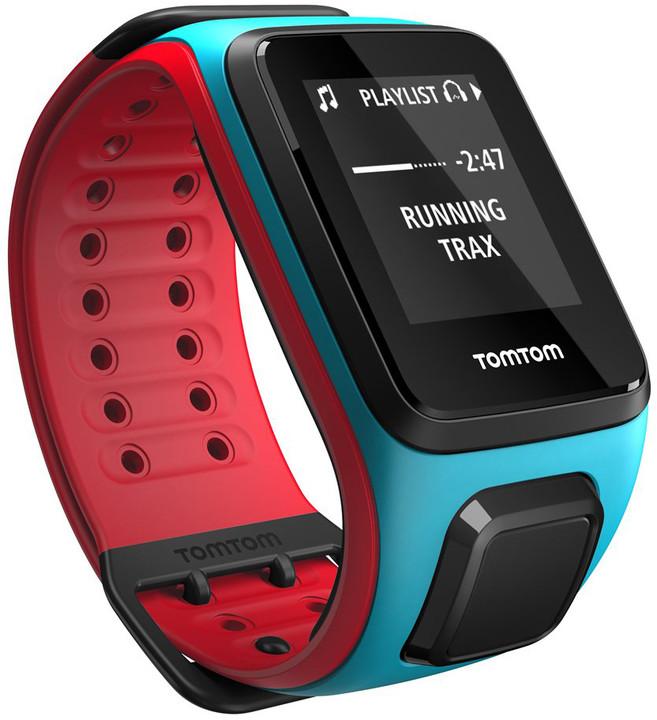 TOMTOM Runner 2 Cardio + Music (velikost L), modrá/červená