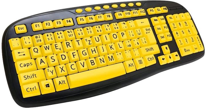 C-TECH KB-103MS, černá/žlutá, CZ/SK