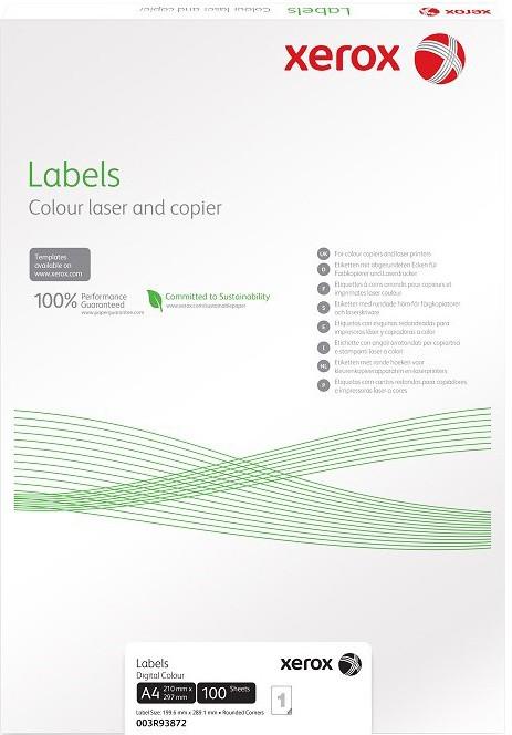 Xerox bílé samolepicí štítky pro černobílý tisk - ostré rohy, A4, 100ks, 1UP 210x297