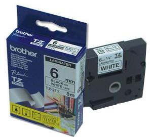 Brother páska - TZ-211, bílá / černá (6mm, laminovaná)
