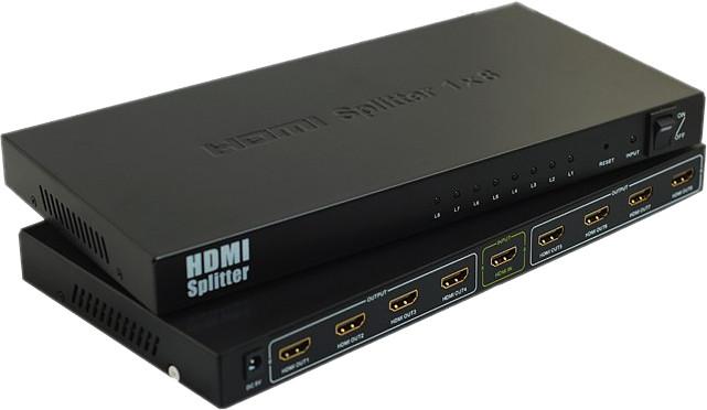 PremiumCord HDMI splitter 1-8 portů kovový s napájecím adaptérem, 3D, FULL HD