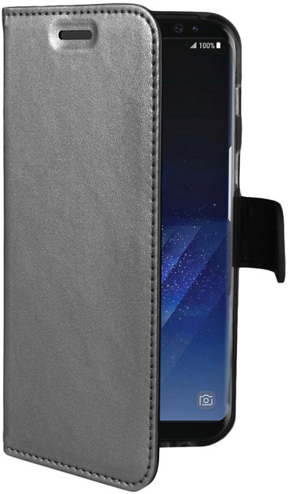 CELLY Air ultratenké pouzdro typu kniha pro Samsung Galaxy S8 Plus, PU kůže, stříbrné