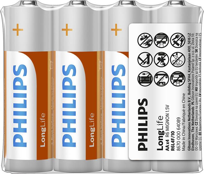 Philips AA LongLife zinkochloridová - 4ks