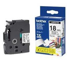 Brother TZE-141, průsvitná/černá, 18mm