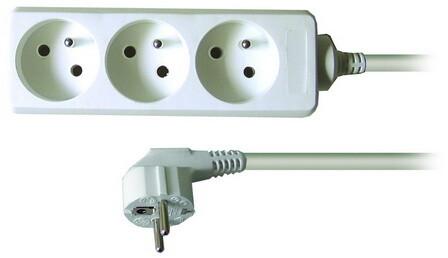 Prodlužovací kabel 230V 1m - 3x zásuvka, bílý