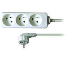Prodlužovací kabel 230V 1m - 3x zásuvka, bílý - 8595092127398