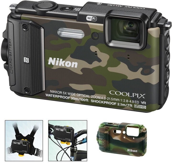 Nikon Coolpix AW130, Outdoor Kit, camouflage