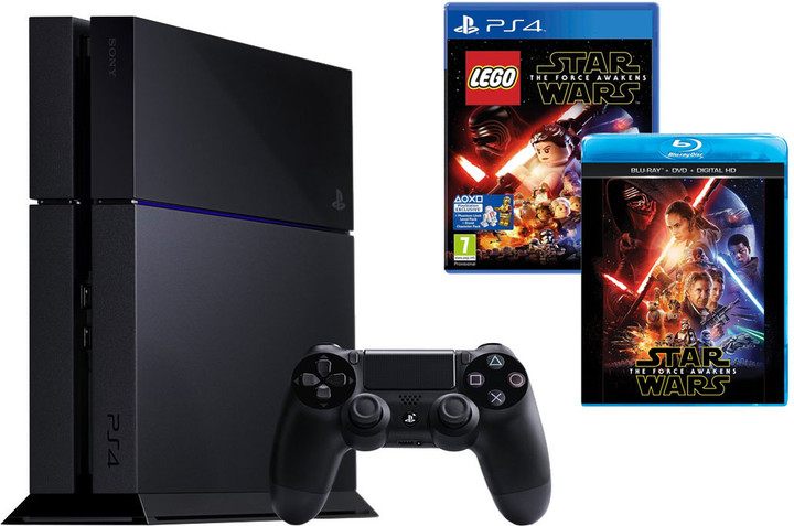 PlayStation 4, 1TB, černá + LEGO Star Wars: The Force Awakens + film SW: The Force Awakens