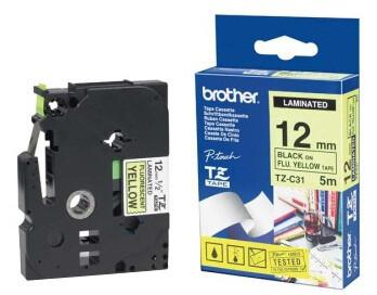 Brother TZE-C31, signální žlutá/černá, 12mm