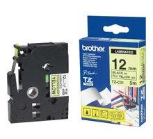Brother TZE-C31, signální žlutá/černá, 12mm - TZEC31