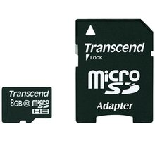 Transcend Micro SDHC 8GB Class 10 + adaptér - TS8GUSDHC10