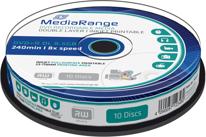 MediaRange DVD+R 8,5GB DL 8x, Printable, 10ks Spindle