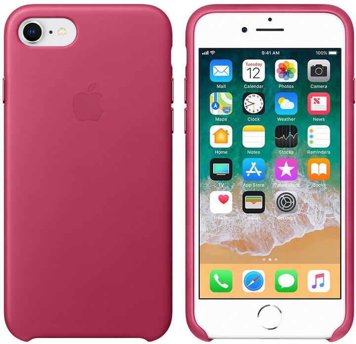 Apple kožený kryt na iPhone 8/7, fuchsiová