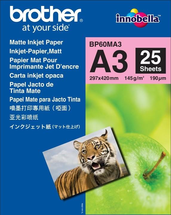 Brother Foto papír BP60MA3, A3, 25 ks, 145g/m2, matný