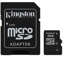 Kingston Micro SDHC 4GB Class 4 + SD adaptér - SDC4/4GB