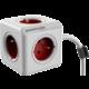 PowerCube EXTENDED prodlužovací přívod 1,5m - 5ti zásuvka, červená