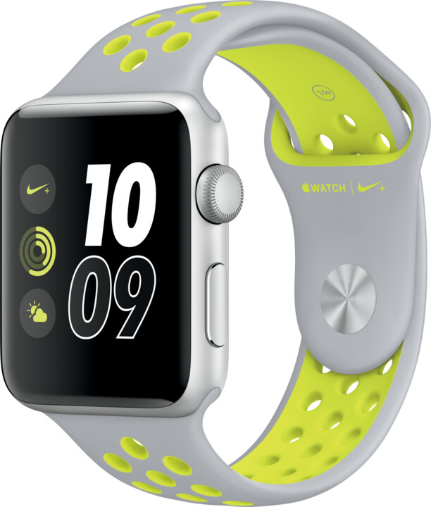 Apple Watch Nike + 42mm Silver Aluminium Case with Flat Silver/Volt Nike Sport Band