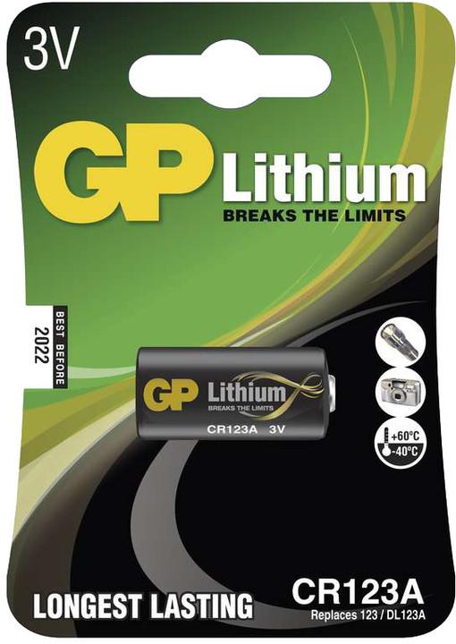 GP, lithium, CR123A, 1450mAh, 1ks