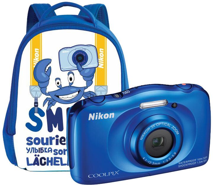 Nikon Coolpix S33, modrá + Backpack kit