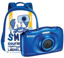 Nikon Coolpix S33, modrá + Backpack kit - VNA851K001