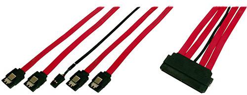PremiumCord SAS 32 kabel 4 x SATA 7pin.konektory se západkami+kabel LED