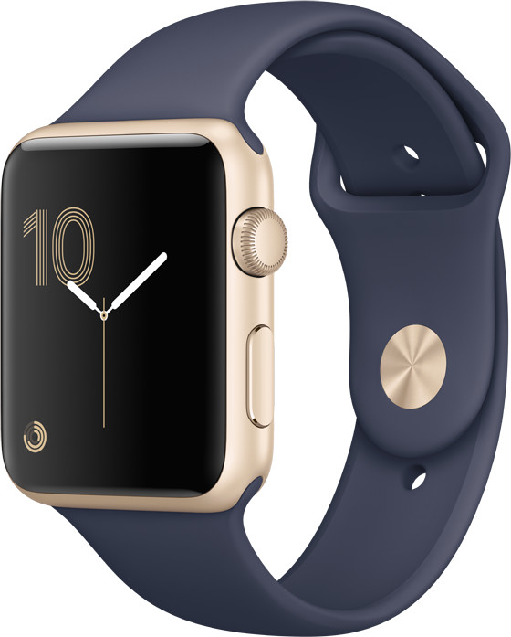 Apple Watch 42mm Gold Aluminium Case with Midnight Blue Sport Band