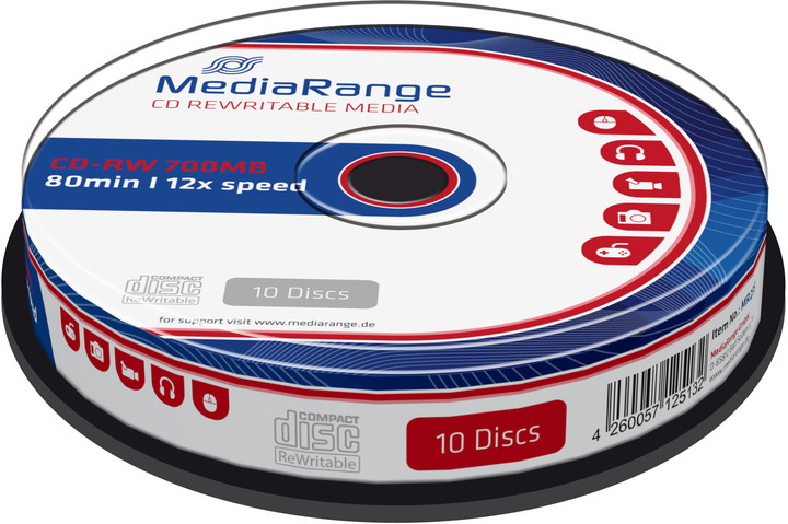 MediaRange CDRW 12x 700MB, Spindle, 10ks