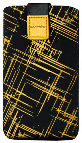 FIXED Velvet pouzdro, mikroplyš, motiv Yellow Stripes, velikost L