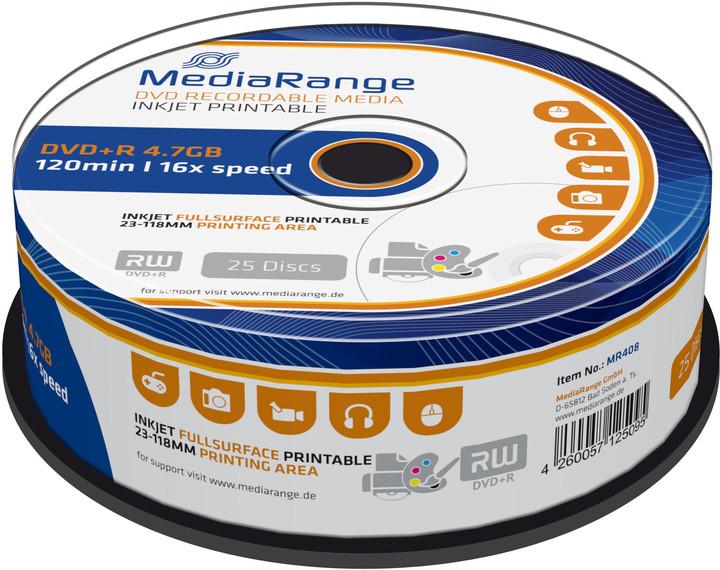 MediaRange DVD+R 4,7GB 16x, Printable, Spindle 25ks