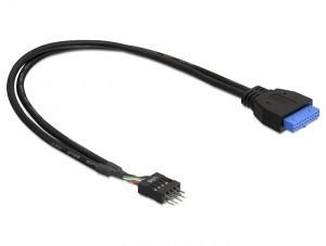 DeLock adaptér USB 3.0 19-pin samice na USB 2.0 8-pin samec 0,3m