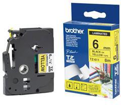 Brother páska - TZ-611 žlutá / černá (6mm, laminovaná)