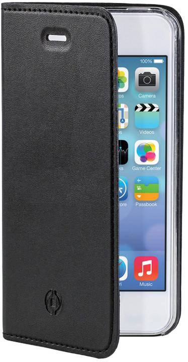 CELLY Air pouzdro typu kniha pro Apple iPhone 5, PU kůže, ultra tenké, černé