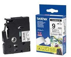 Brother TZE-FX221, bílá/černá, 9 mm, s flexibilní páskou